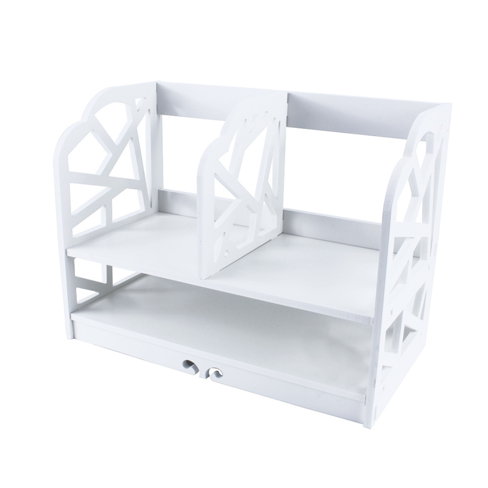 Image 4 - 2 Tiers DIY Shelving CD Book Storage Box Unit Display Bookcase Commodity Stationery Shelf  Student Desk Home Office-in Bookcases from Furniture
