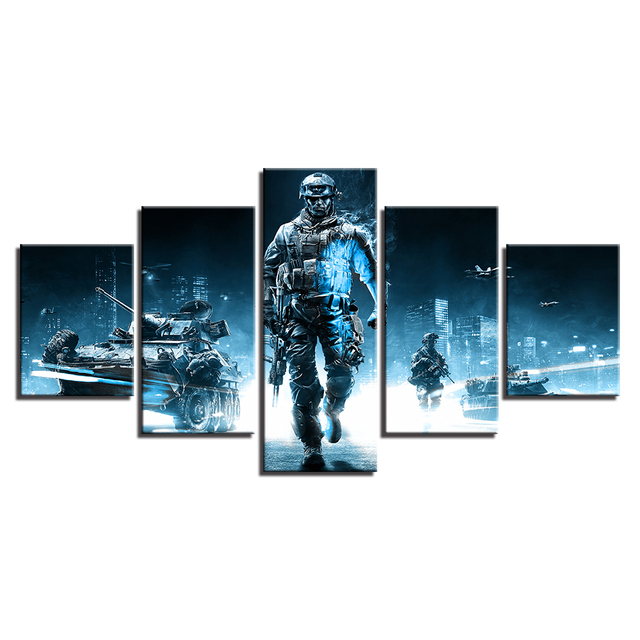 Home Decor HD Printed Canvas Painting 5 Pieces Game Battlefield 3 Theme Modular Posters Pictures For Living Room Wall Art Frames 3