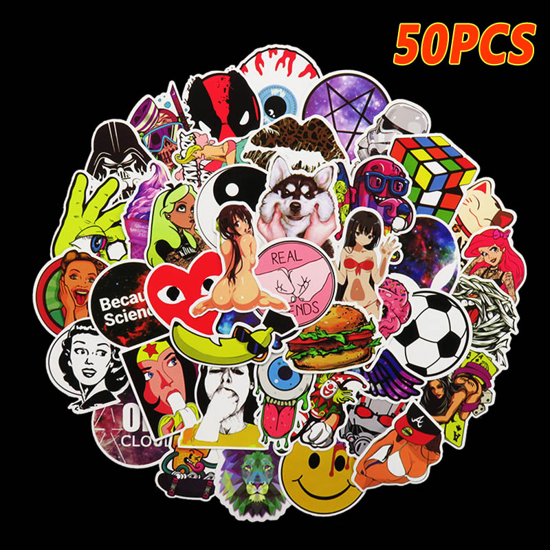 50Pcs/Lot 10 Types Pvc Waterproof Fashion Personality Sticker For Laptop Motorcycle Skat ...