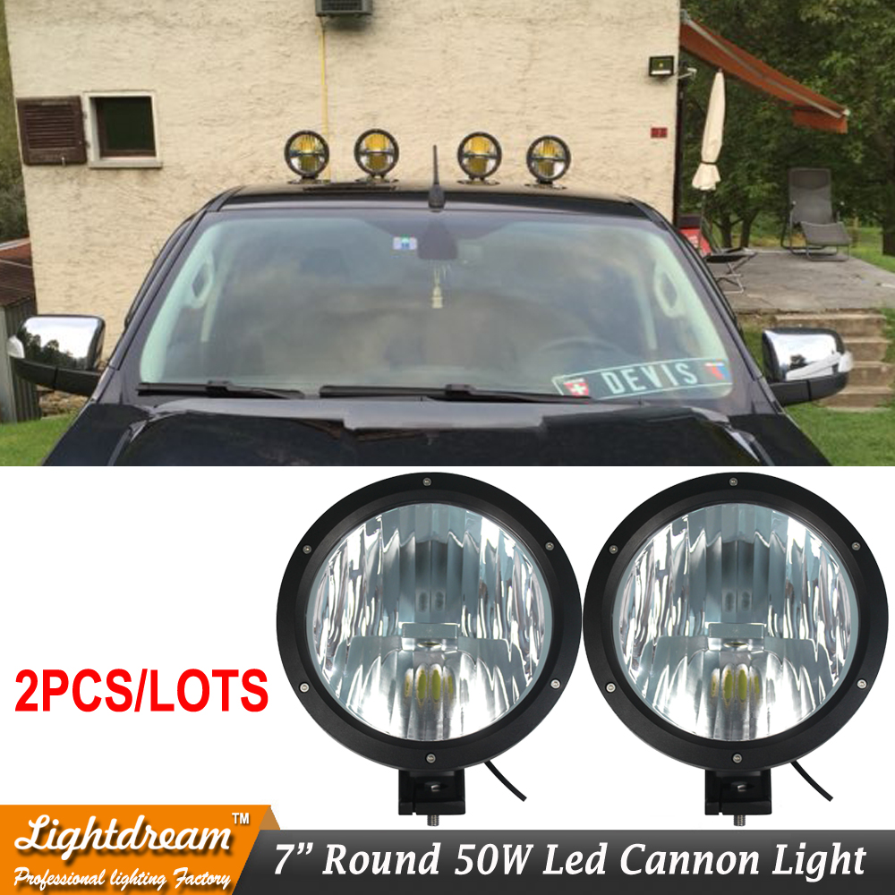 "6.7Inch 6.7"" 50W Led Cannon Light 12V 24V 4X4 Led Work Driving light Cannon headlights external lights for car truck suv 4X4 x2"