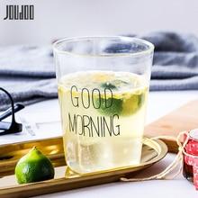 JOUDOO Lovely Transparent Glass Breakfast Cup Creative Good Morning Party Mugs Ins Coffee Tea Juice Yogurt Kitchenware Mug 35