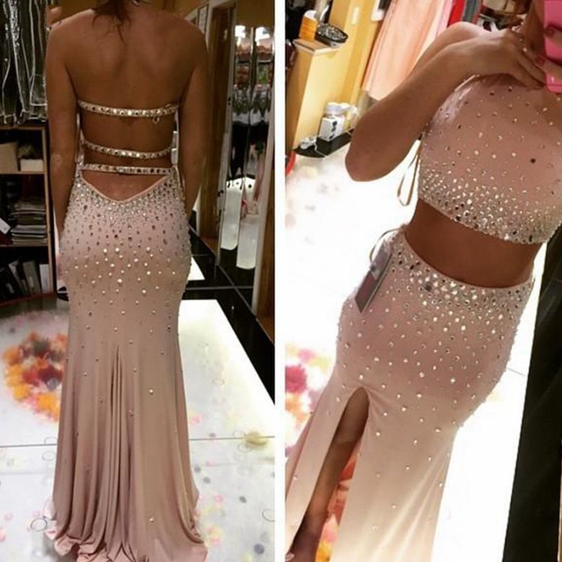 Two Pieces Crystal Prom Dress Halter Backless Floor Length Mermaid Shape Front Side Split Sexy Evening Gowns Party Dress