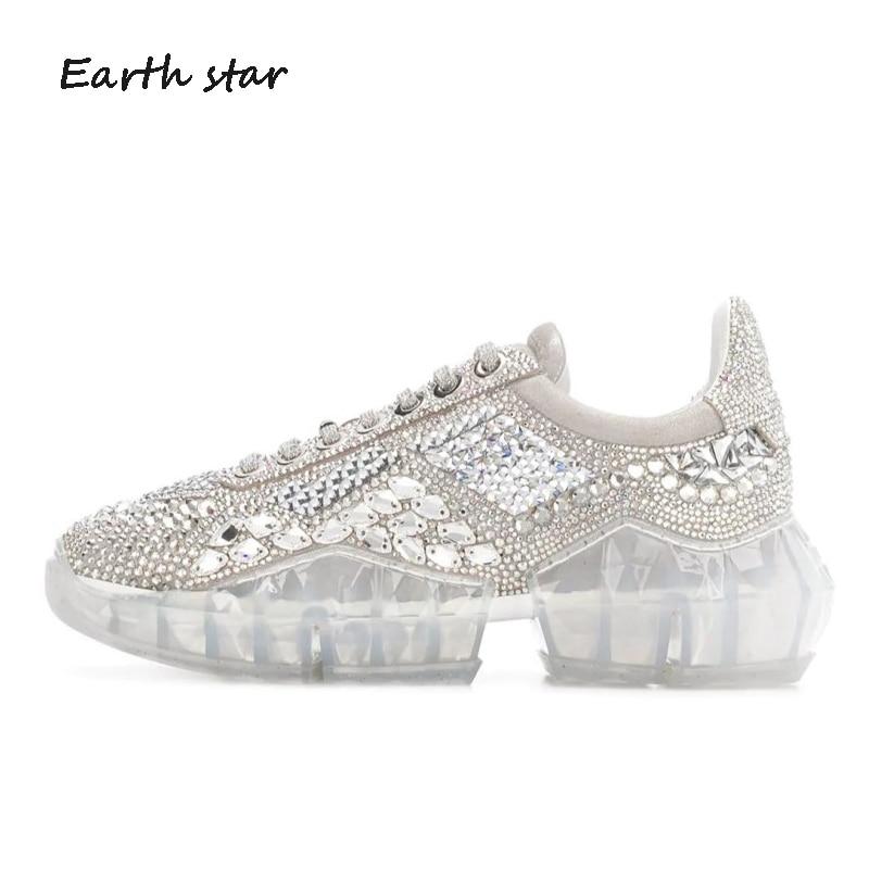 Décontracté Bling chaussure femmes zapato de mujer cristaux blanc Sneaker plate-forme chaussures femme strass véritable cuir chaussures de mode - 4