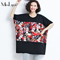 MissLymi 6XL Plus Size Women T-shirt 2017 New Summer Harajuku Bat Sleeve Patchwork King and Queen Cartoon Printing Long Shirt