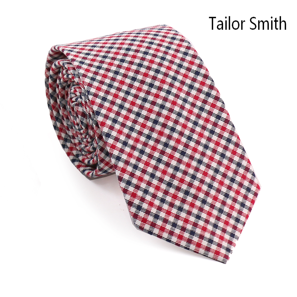 Tailor Smith Top Quality 100% Cotton Small Check Necktie Mens Casual Skinny Party Business Ties Cravate Handmade Men Accessories