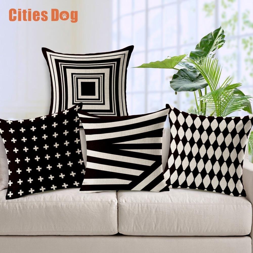 装飾枕クッションリネン黒とグレーベージュシェーディングジオメトリパターン印刷45センチ* 45センチ枕クッション
