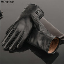 2017 leather gloves,Genuine Leather,Black,brown color,leather gloves men ,leather winter gloves warm,brand mittens