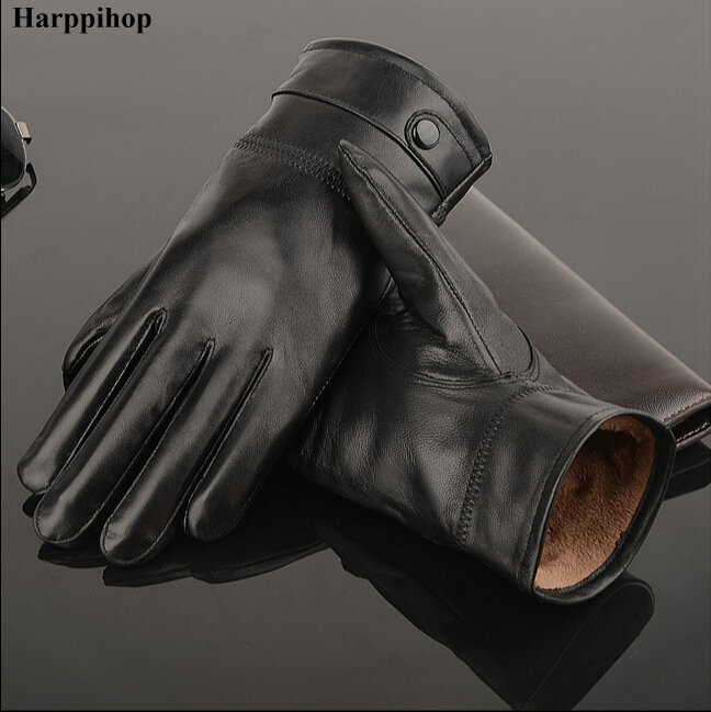 2018 Leather Gloves,Genuine Leather,Black,brown Color,leather Gloves Men ,leather Winter Gloves Warm,brand Mittens