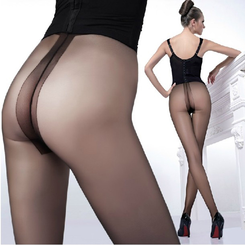 W707 T Crotch Sexy Full Foot Womens Long Stockings thin Semi Sheer Tights Pantyhose Panties free ship 4 colors