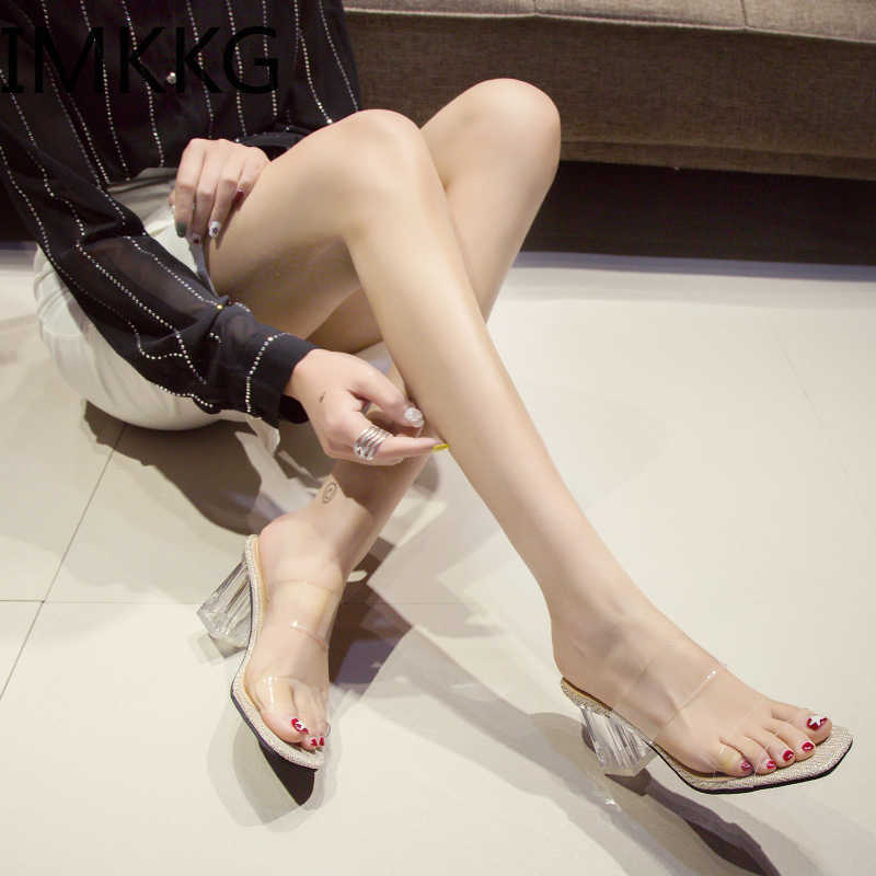 New Summer Transparent Slippers Women Shoes Woman Mules Slides Square High Heels Clear Slippers Female Shoes F90138
