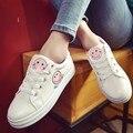 Женская мода высокого качества пу кожа мультфильм обувь sapatos femininas женский симпатичные узелок обувь подросток студент школы обувь