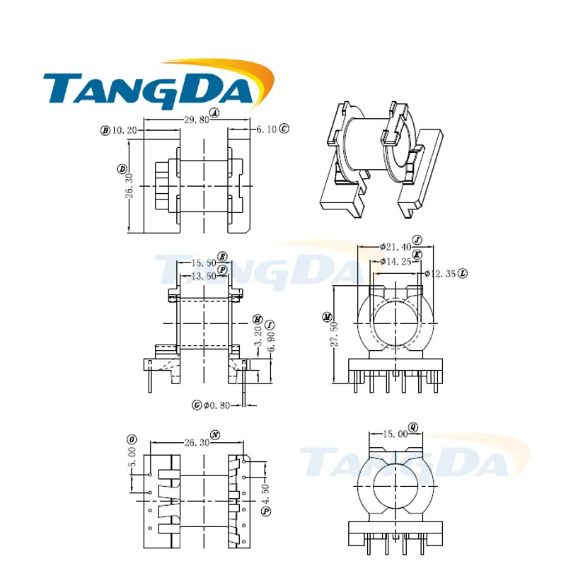 tangda pq pq2625 type 4 6 pin 10p bobbin magnetic core   skeleton ferrites power transformer