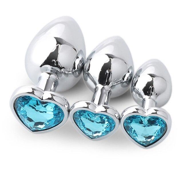 Light blue metal anal plug light blue box 3 sizes