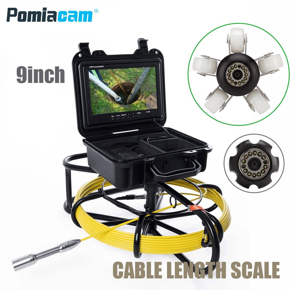 WP9600A 20m Cable Fiber Glass 9'' TFT LCD Waterproof Pipe Sewer Inspection Camera Color 1200TVL 12 Leds Endoscope Snake Camera dhl free wp90 50m industrial pipeline endoscope 6 5 17 23mm snake video camera 9 lcd sewer drain pipe inspection camera system