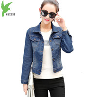 New Women Spring Autumn Denim Short Jacket Coats Fashion Solid Color Casual Tops Slim Students Short