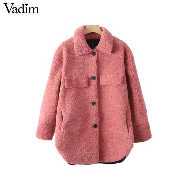 Vadim women thick loose fur long coat winter warm pockets long sleeve ladies cozy pink casual oversized tops chaqueta CA196