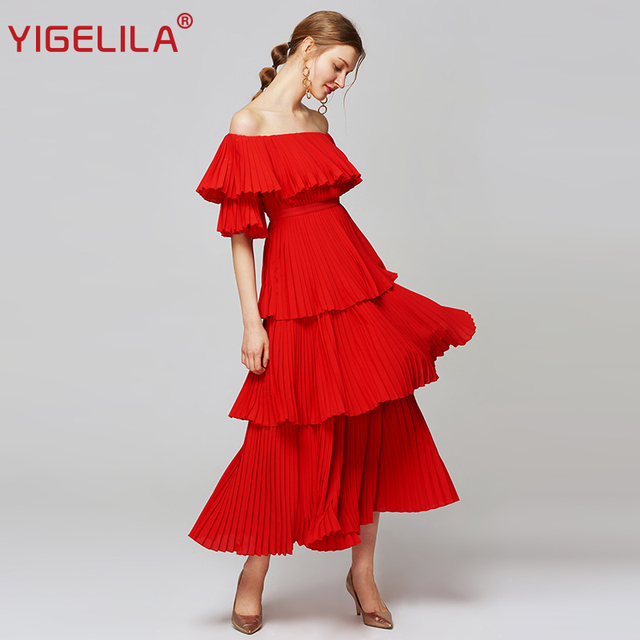 85f5c908a247 YIGELILA Women Red Pleated Long Dress Fashion Slash Neck Off Shoulder Half  Sleeve Empire Slim Draped Party Dress XL Size 63660