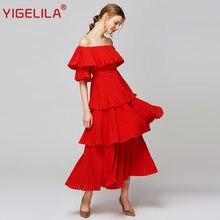Женское плиссированное платье yigelila Красное длинное с вырезом