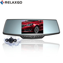 Cheaper Relaxgo 4.3″ Car Rearview Mirror DVR Full HD 1080P Car Camera Parking Night Vision Car DVR Dual Camera Video Recorder Black Box