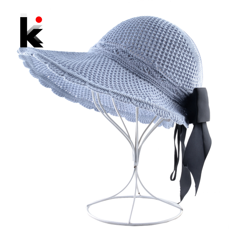 Women's Ponytail Cap Solid Color Sun Hats For Ladies Wide Brim Beach Vacation Straw Hat Foldable Bow-knot Casual Floppy Cap 1