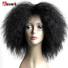 AOSI парик короткие пушистые волосы афро кудрявый черный коричневый натуральный термостойкий синтетический Косплей парики для черных женщин