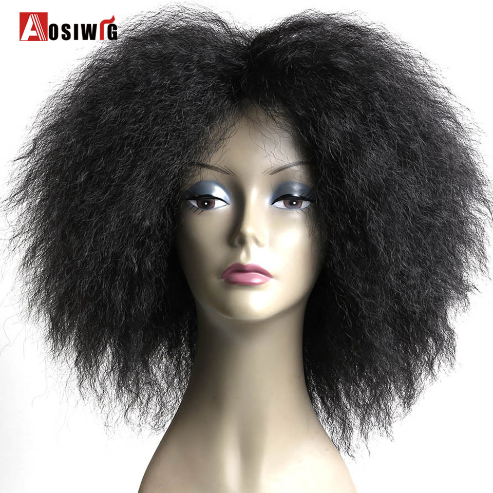 AOSI WIG Short Fluffy Hair Afro Kinky Curly Black Brown Natural Heat Resistant Synthetic Cosplay Wigs For Black Women