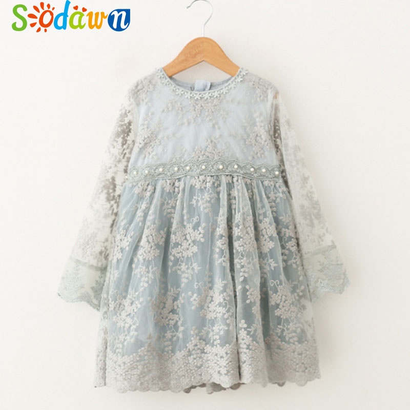 Sodawn 2018 Spring Summer Girls Dress Embroidered Girls Pearl Yarn Dress For Praty Baby Girls Princess Dress Children Clothing pearl beading eyelet embroidered cuff tiered dress