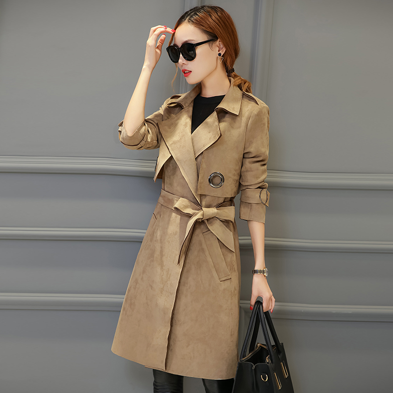 New Fashion 2019 Spring Autumn Long Sleeve Windbreaker Coat Women Suede long   Trench   Coat With Belt Y486