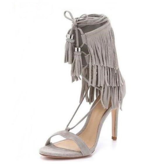 7869948c56d Hot Selling Cheap Beige Suede Leather Lace up Ankle Strap Sandals High Heel  Cut out Fringe Dress Shoes Designer Tassel Sandals-in High Heels from Shoes  on ...