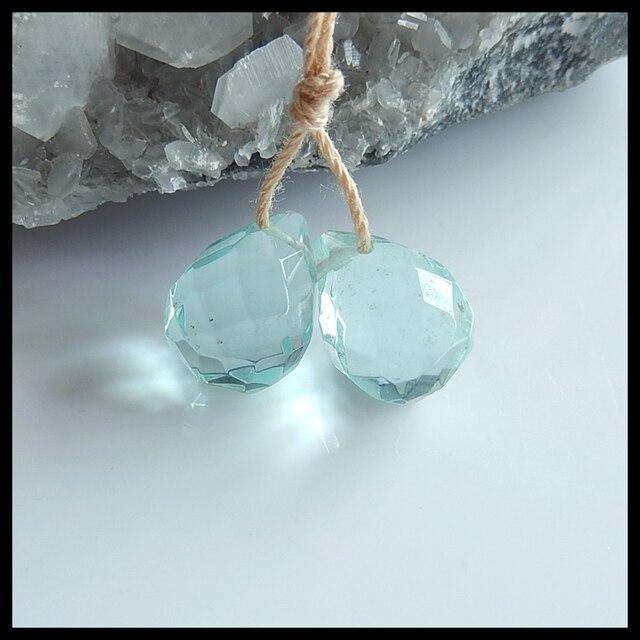 Charms Women Earrings light blue  Jewelry Gift Gem Customized,birthday gift!! Blue Aquamarine Earring Beads,14x10mm,3.3g