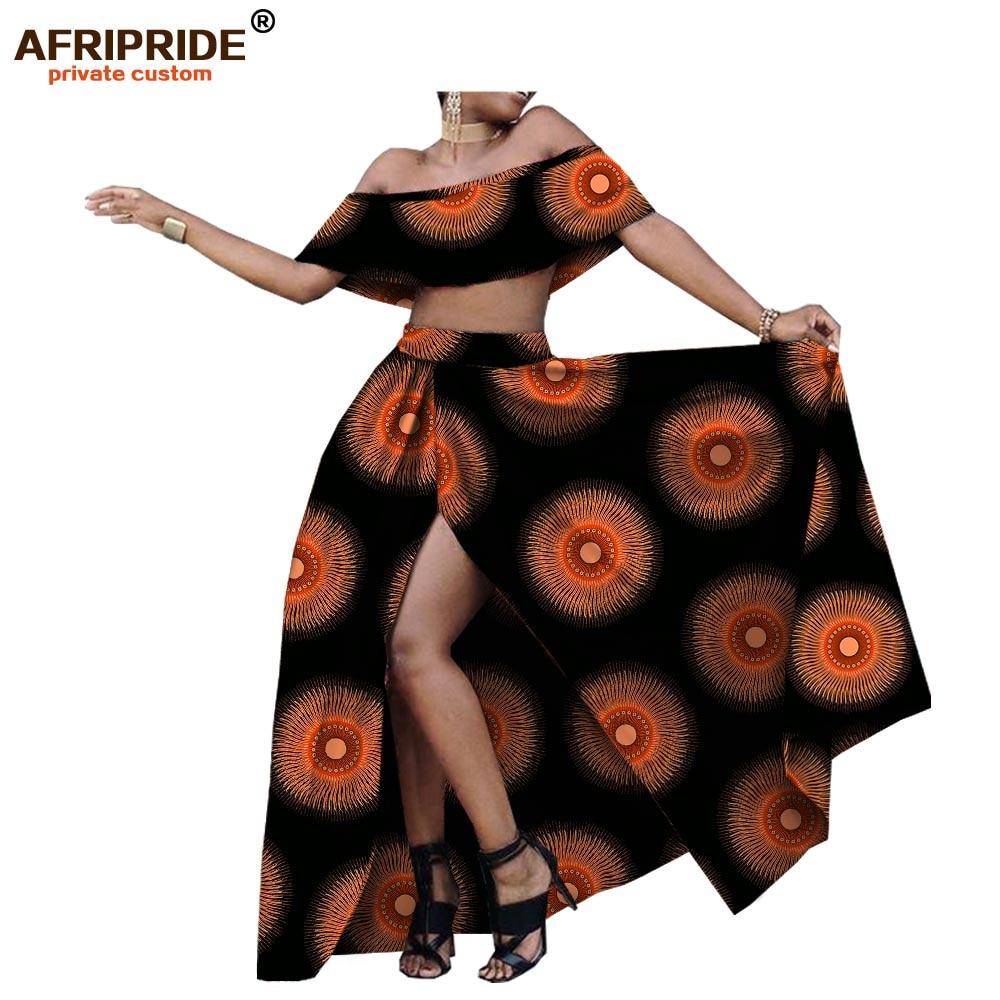 2018 summer sexy skirt set for women AFRIPRIDE customzied strapless short top floor length split skirt