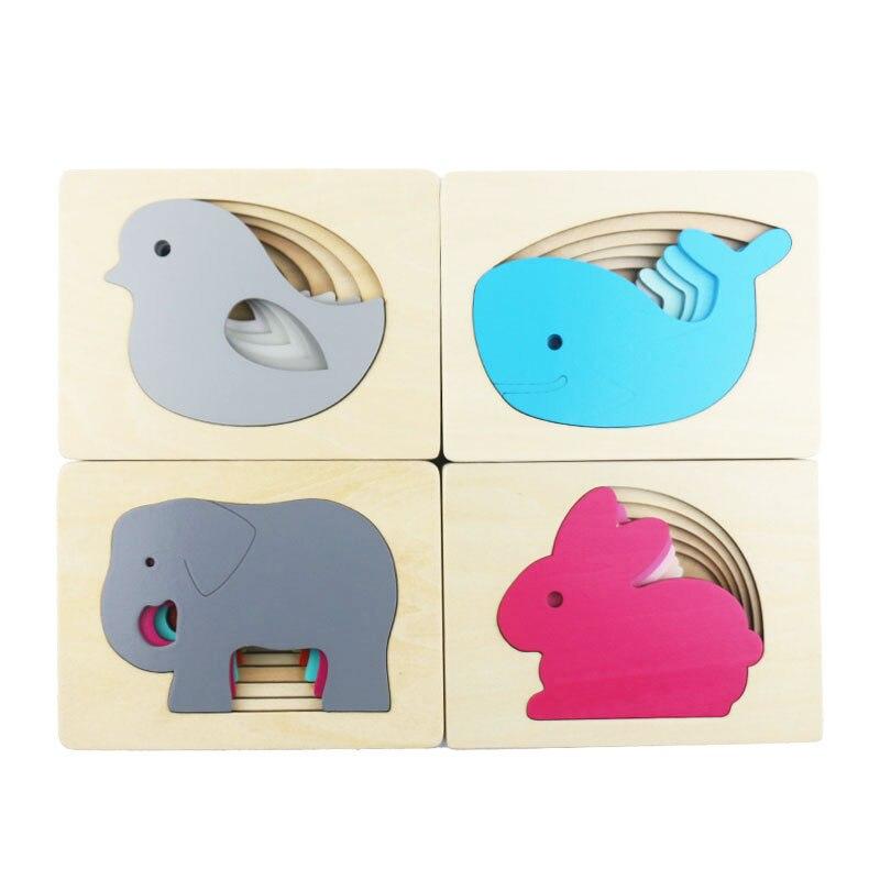Multi-imensional 3D головоломки животных головоломка для детей многослойная Рано Развивающие деревянные игрушки для детей ME1964H