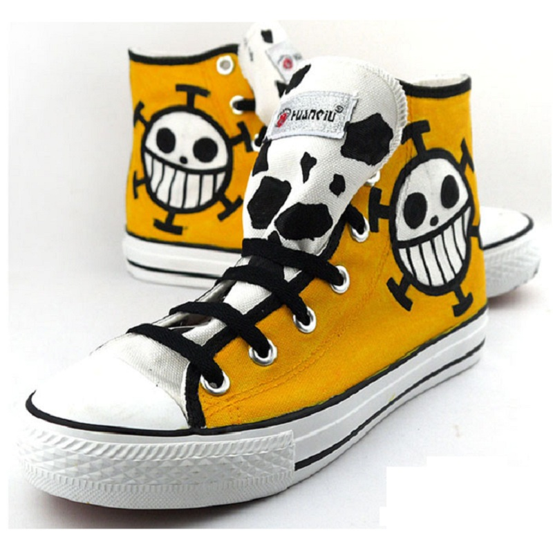 High-Q Unisex Anime Cos One Piece Trafalgar Law Casual Punk Student plimsolls canvas shoes rope soled shoes