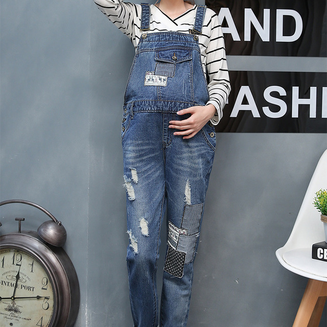 d106af62b14fe Spring Autumn Maternity Suspender Trousers Fashion Denim Pregnancy Pants  Prop Belly Jeans Pockets Overalls for Pregnant Women