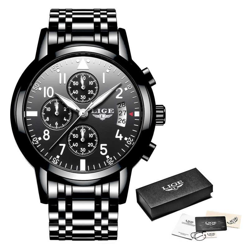 LIGE hommes montres haut marque de luxe de mode affaires montre à Quartz hommes Sport tout en acier étanche noir horloge erkek kol saati + boîte