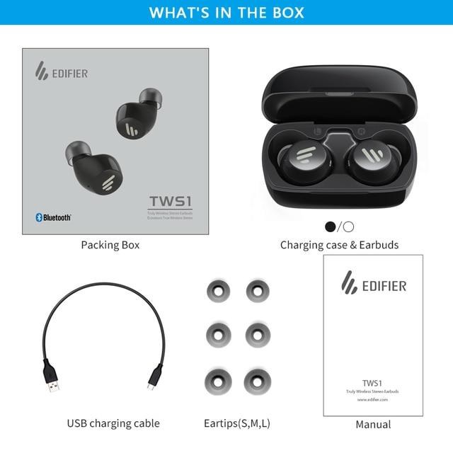 EDIFIER TWS1 TWS Earbuds Bluetooth v5.0 aptX Touch control IPX5 rated Ergonomic design wireless earphones Bluetooth earphone 5