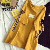 Летний корейский Harajuku Стиль Эй Алфавит Для женщин футболка личности отверстие ленты Половина рукава школьные рубашки модные футболки ZO9