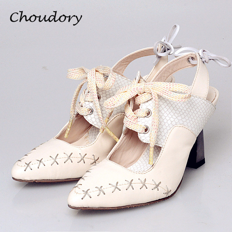 Choudory Chunky High Heels Woman Pumps Spring Autumn Sewing Lace-Up Pointed Toe Singback Woman Shoes Attractive Zapatos Mujer  choudory high heels woman pumps spring autumn flower decoration woman shoes attractive flock pointed toe party zapatos mujer