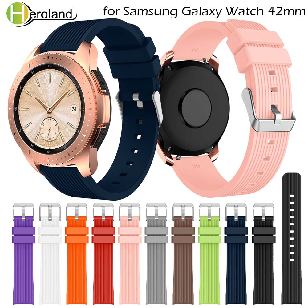 Silicone watch strap for Samsung Galaxy Watch 42mm 20mm smart wrist watchbands for Samsung Gear S2 sport Bracelet For Amazfit in Watchbands from Watches