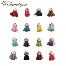 WISHMETYOU 10Pcs 23.5mm Faux Leather Tassels Diy Earrings Pendant Key Chain Crafts Supplies Mixed Color Plastic Cap Accessories