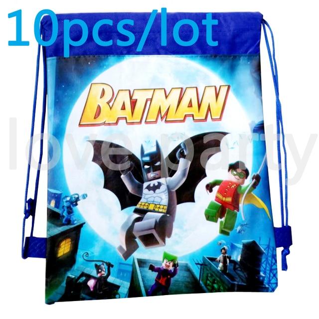 Kids Favors Lego Batman Non Woven Fabric Drawstring Gits Bags 10pcs