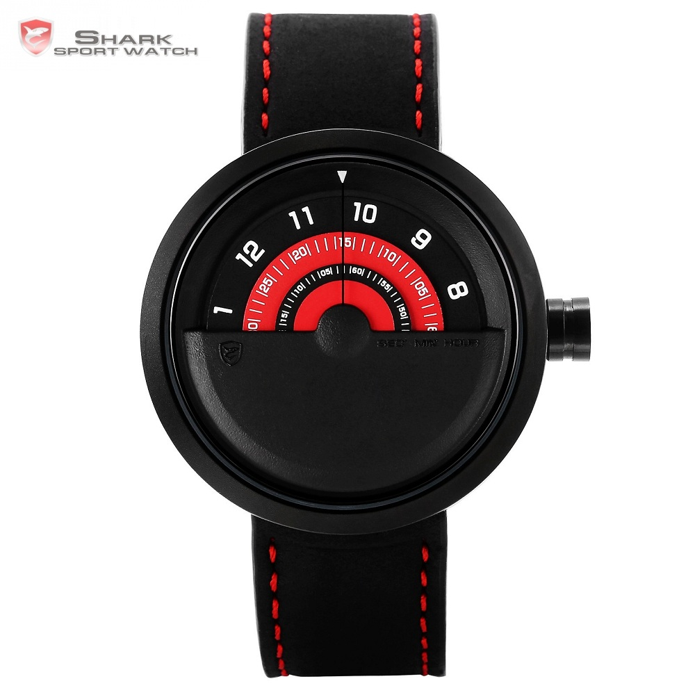 Bonnethead Shark Sport Watch New Turntable Dial Red Analog Quartz Soft Crazy Horse Leather Unique Design Mens Wristwatch /SH421Bonnethead Shark Sport Watch New Turntable Dial Red Analog Quartz Soft Crazy Horse Leather Unique Design Mens Wristwatch /SH421