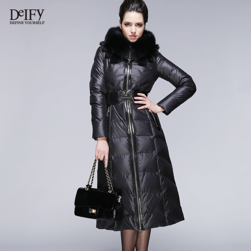 Luxury Winter Down Coat Women Fox Fur Hood Collar Thickening Long ...