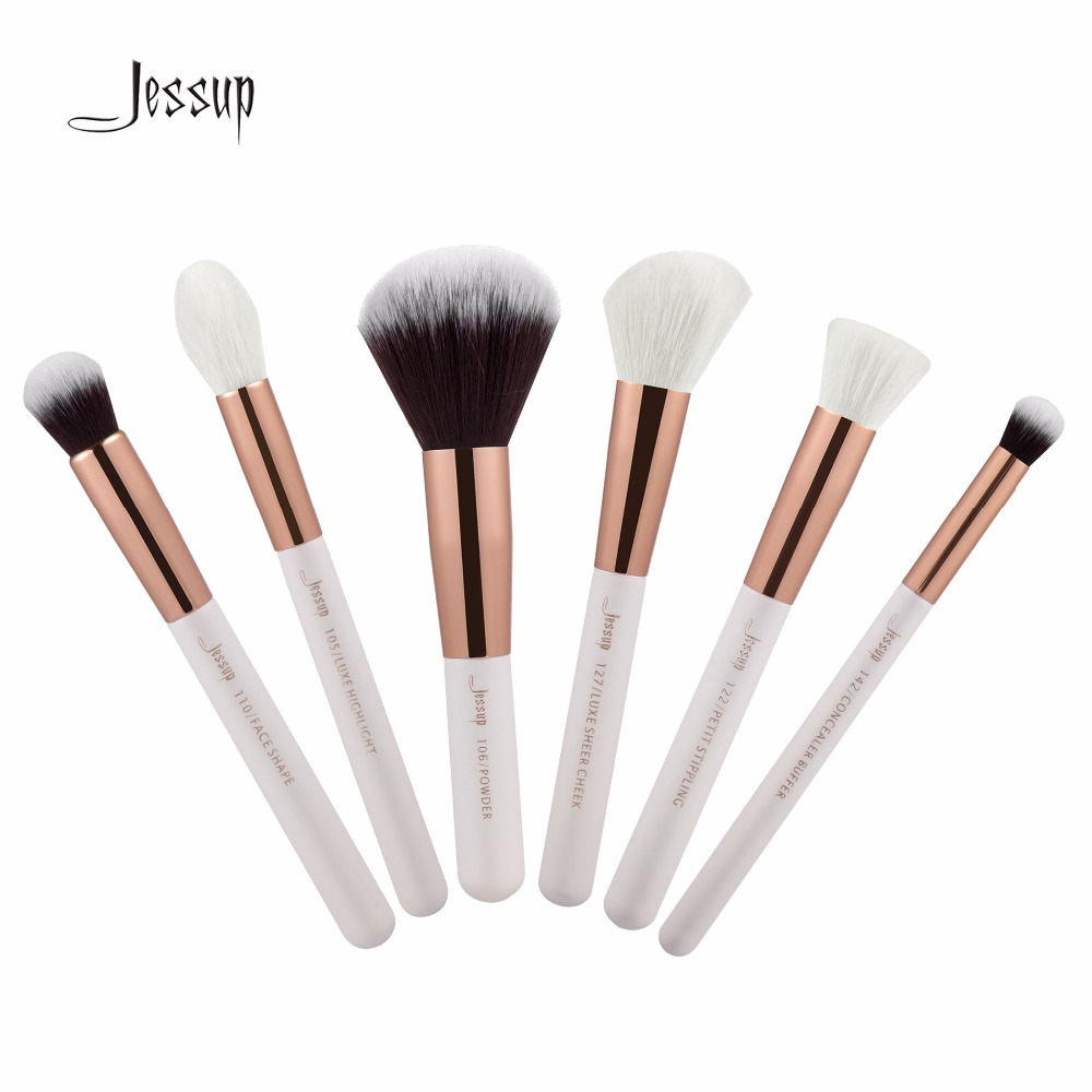 Jessup Brushes 6pcs Professional Makeup Brushes Set Makeup Brush Tools kit Buffer Paint Cheek Highlight T224 147 pcs portable professional watch repair tool kit set solid hammer spring bar remover watchmaker tools watch adjustment
