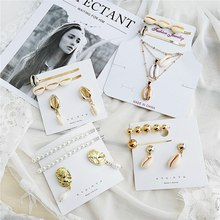17KM 2019 New Pearl Shell Jewelry Hairpins Earrings Set For Women HA+EA Gold Color Shell Hair Clips Jewelry Accessories(China)