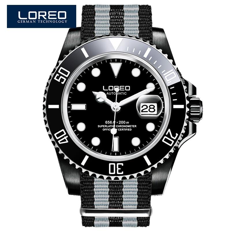 LOREO automatic self-wind waterproof 200M Austrian diamond complete calendar scratch resistant chronograph sport diver watch