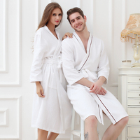XMS Brand Waffle Cotton Bathrobes 100 Cotton Waffle Women S Bath Robes Solid Full Sleeve Lady