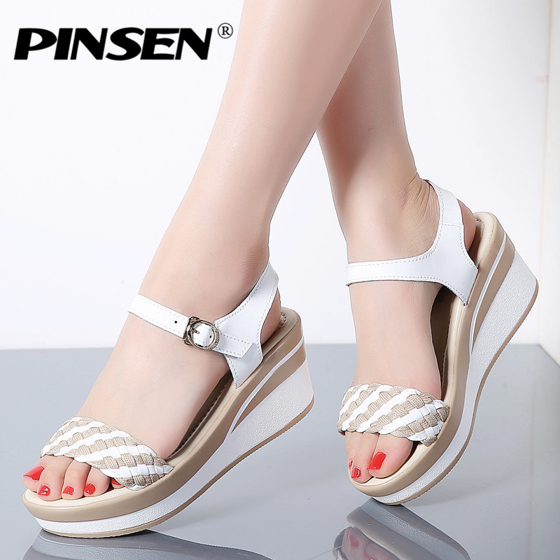 PINSEN 2018 New Summer Sandals Women Flat Shoes Woman Wedges Platform Sandalias Buckle Sandals High Heels Weave Strap Sandals xiaying smile woman sandals shoes women pumps summer casual platform wedges heels sennit buckle strap rubber sole women shoes