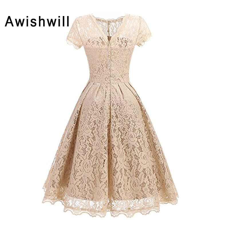 Fast Shipping Champagne Evening Dress with Short Sleeve A Line Vintage Lace Party Dresses For Formal Occasion Women