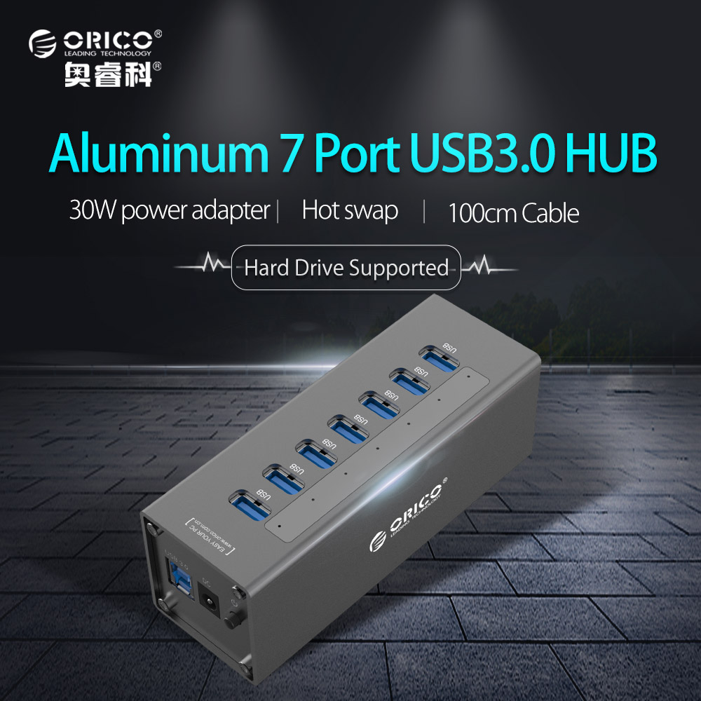 ORICO USB3.0 HUB Aluminum Super Speed 7 Ports Usb Splitter with 12V 2.5A Power Adapter for Macbook Air Laptop PC Computer orico m3h73p aluminum usb hub splitter super speed 5gbps 7 usb3 0 ports 3 usb charging ports for charging